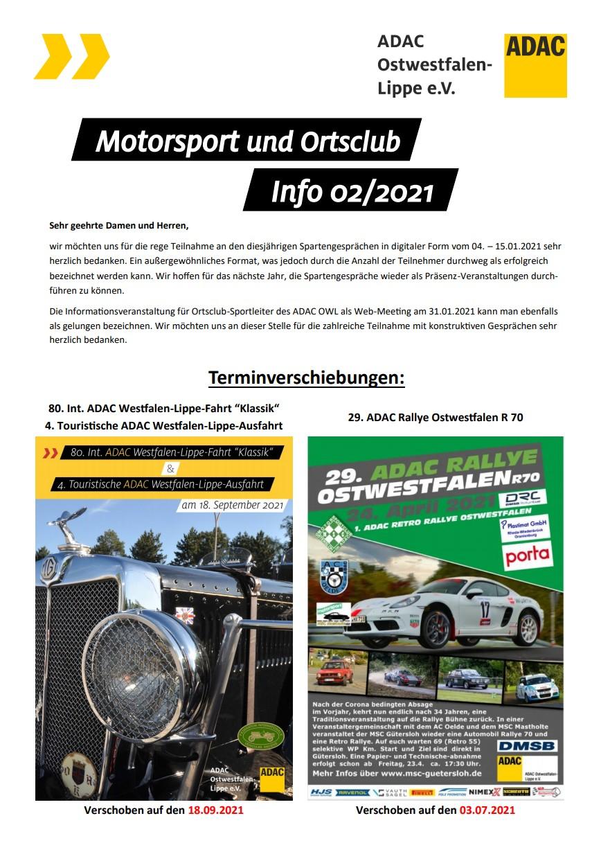 Motorsport und Ortsclub Info 02 2021