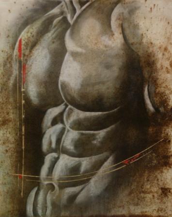 Torse au masculin 80x100cm Huile sur papier marouflé sur médium
