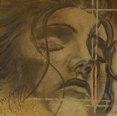 La tête dans les étoiles 40x40cm Huile sur papier marouflé sur médium