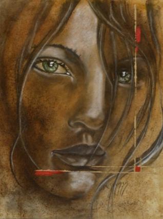 Les yeux dans les yeux 60x80cm Huile sur papier marouflé sur médium