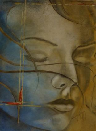 Rêve bleu 60x80cm Huile sur papier marouflé sur médium