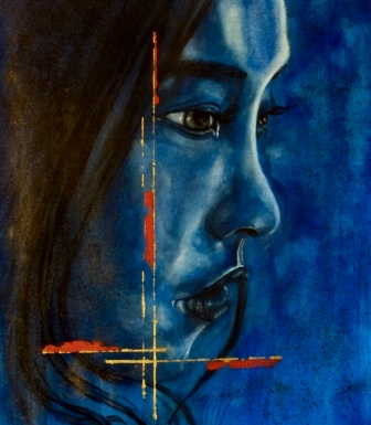Profil bleu 60x70cm Huile sur toile