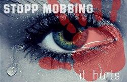Aufruf zu stop Mobbing it hurts Auge mit Träne