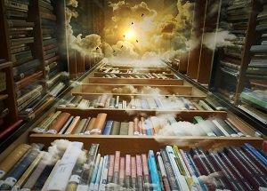 Bibliothek mit Nebelschwaden in der höheren Ebene