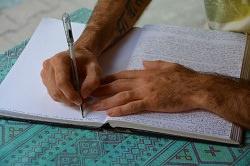 ein Tagebuch wird geschrieben