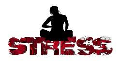 Person sitzt auf dem Begriff Stress