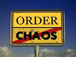 Strassenschild Ortseingang Ortsausgang Order und Chaos