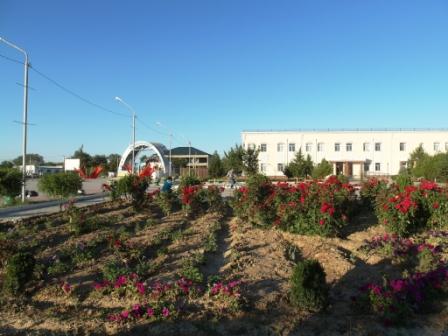 На заднем плане районный дом культуры и сцена