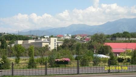 Вид на больничный комплекс с дороги