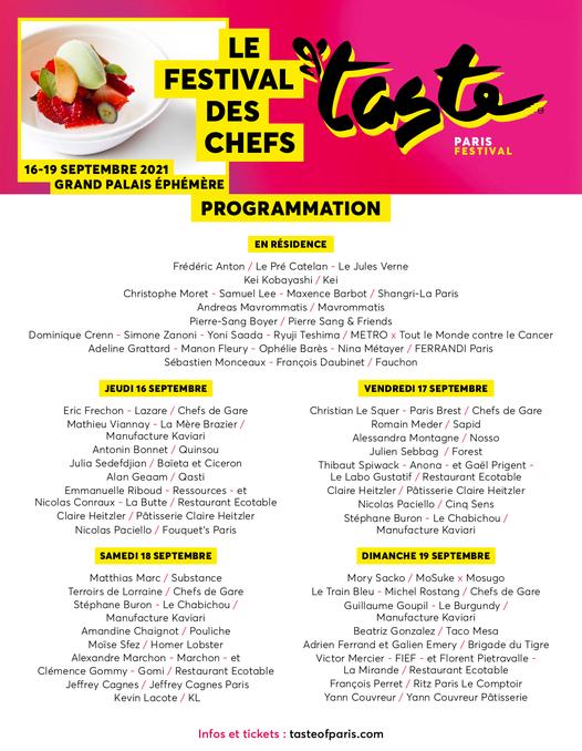 Programme Taste Of Paris 2021 du 16 au 19 septembre au Grand Palais éphémère