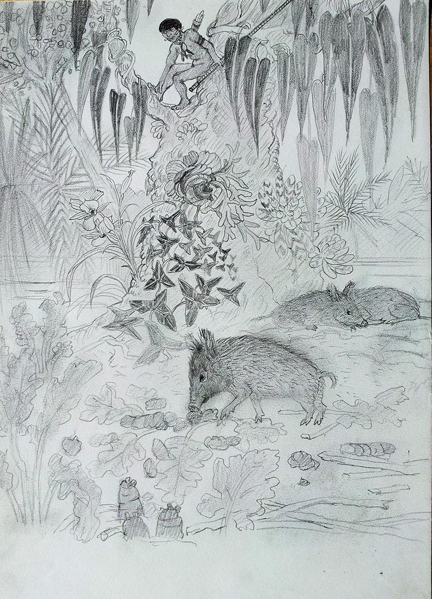 Jagd auf Wildschweine Melanesien
