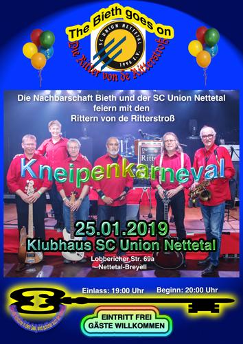 offizielles Plakat Kneipenkarneval Biether Nachbarschaft und der SC Union Nettotal