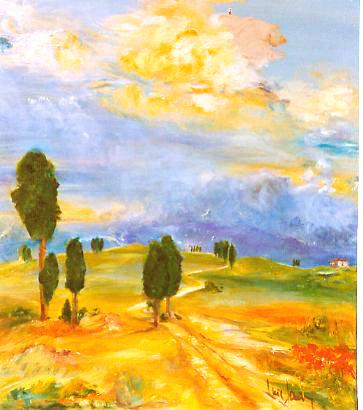 """""""Umbrien""""  Ölbild  60 x 70 cm"""