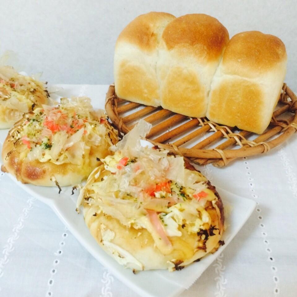 湯だね食パン(ミニ食パン&お好み焼きパン)