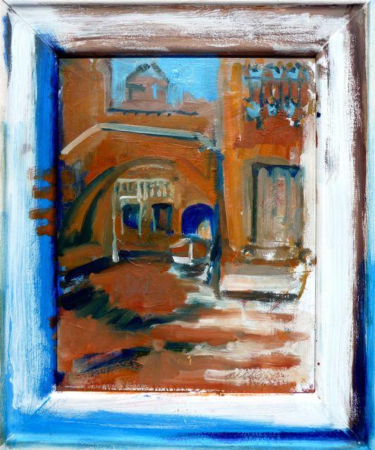 """Incrocio Rii Ponte Storto & Mocenigo (2020)  Olio su tavola incorniciata dall'artista cm 53,5 x 44  Oil on panel in artist's frame 21 1/8 x 17 1/3"""""""