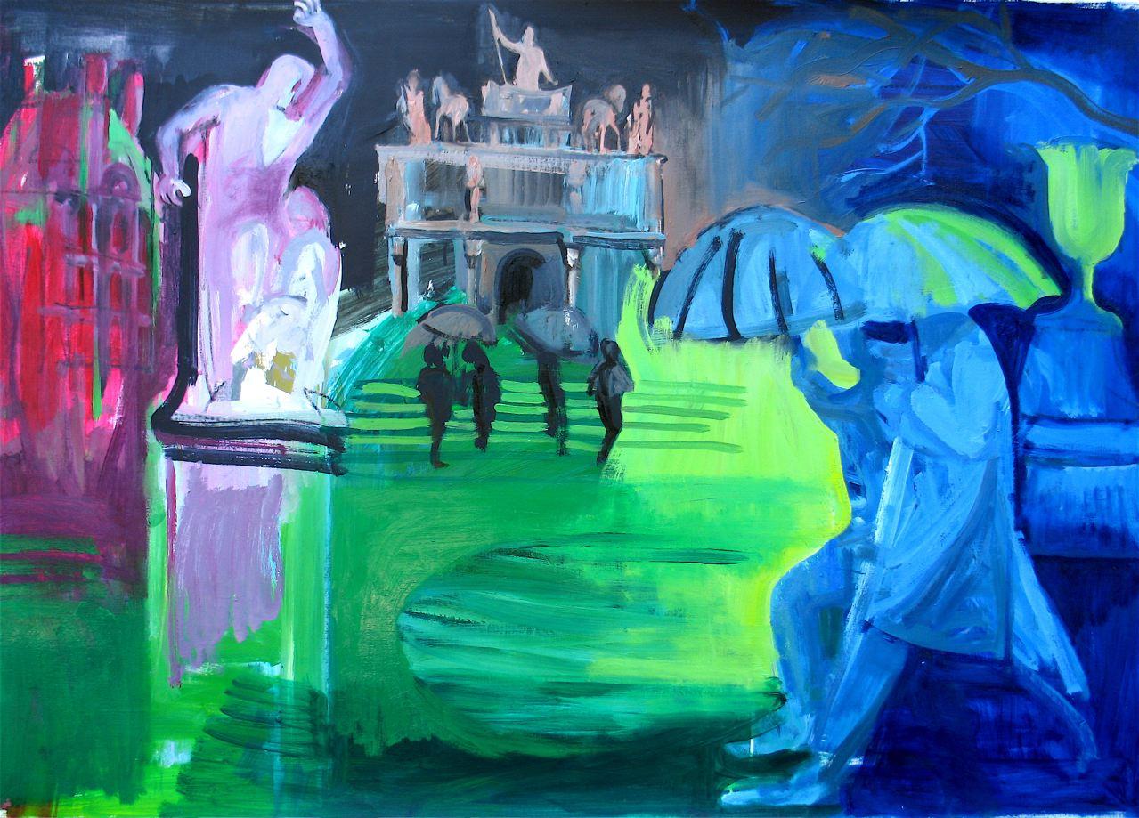"""Étude de Tuileries #2 (2010)   olio su carta preparata cm 98 x 135  oil on prepared paper 39 5/8 x 53 1/8"""""""