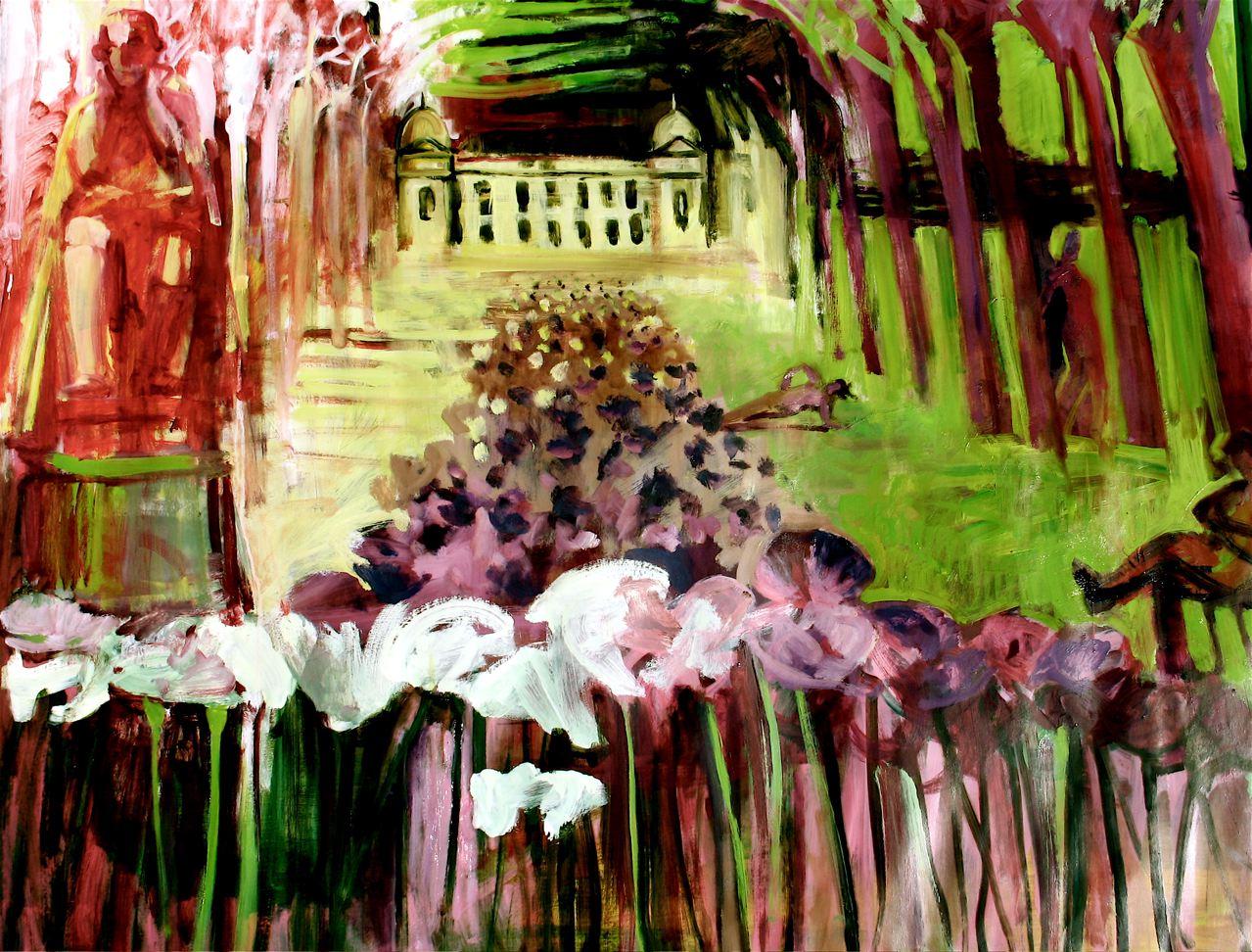 "Jive in the Jardin (2017)  olio su carta cm 118 x 139,5  oil on paper 46 1/2 x 54 7/8"""