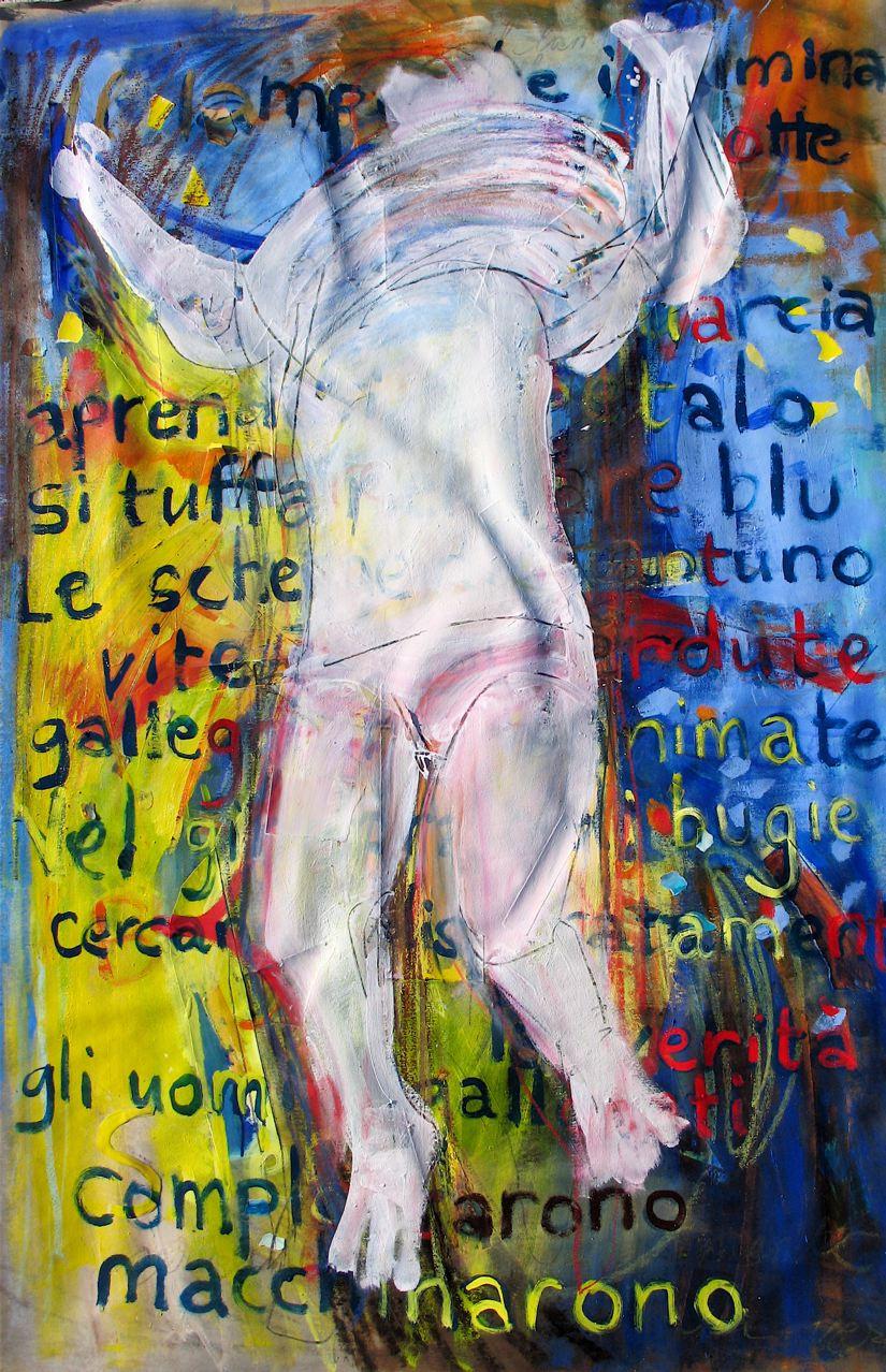 """Si tuffa nel mare di bugie e silenzi (2011) tecnica mista su tela cm 147 x 97 mixed media on canvas 57 7/8 x 38 1/8"""""""