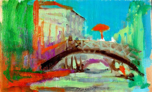 """Altro ponte altro ombrellone (2020)  Olio su tavola cm 24 x 38,5  Oil on panel 9 1/2 x 15 1/8"""""""