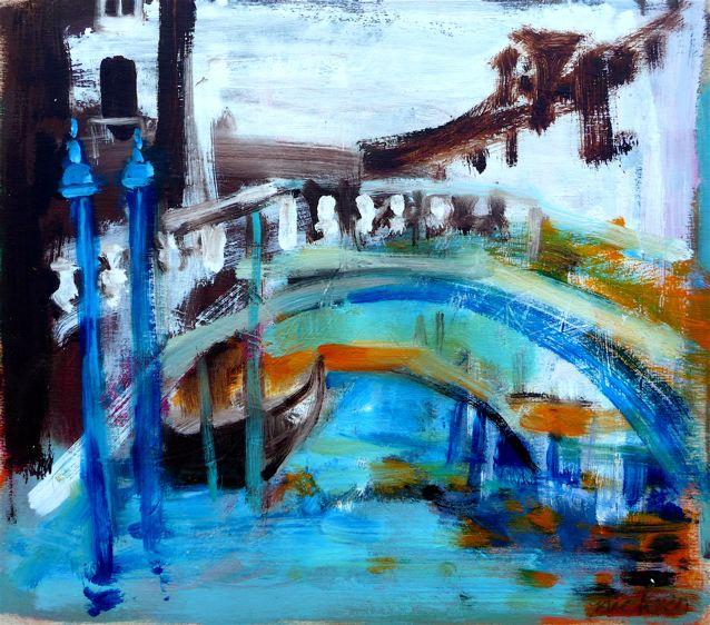 """Rio della Canonica (2020)  Olio su tavola cm 32 x 35,5  Oil on panel 12 5/8 x 13 7/8"""""""