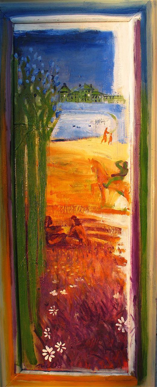 "Kleiner Kensington (2018)   olio su tavola incorniciata dall'artista cm 113 x 42  oil on panel in artist's frame 44 1/2 x 16 1/2"""