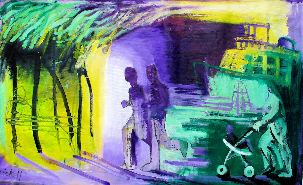 "Park No.8 (2011)  tecnica mista su tela cm 92 x 147  mixed media on canvas 36 1/4  x 57 7/ 8"""