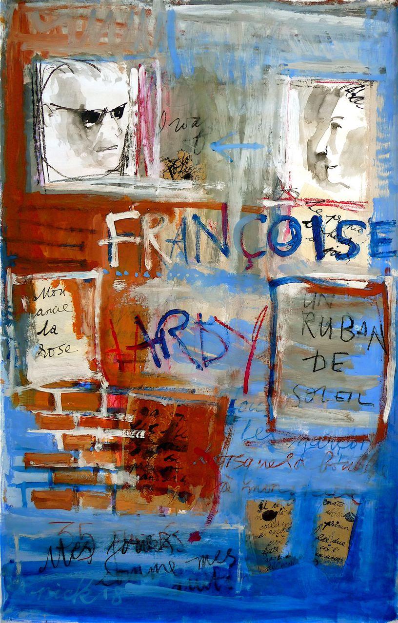 "French Letter (2018) tecnica mista su carta cm 150 x 100 mixed media on paper 59 1/8 x 39 1/4"""