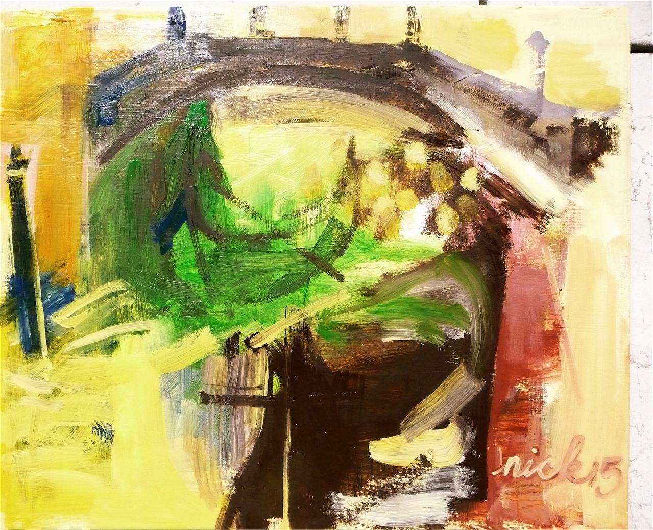 """Ponte Pasqualigo (2015)  Olio su tavola incorniciato dall'artista cm 38,5 x 46,5  Oil on panel in artist's frame 15 1/8 x 18 1/3"""""""