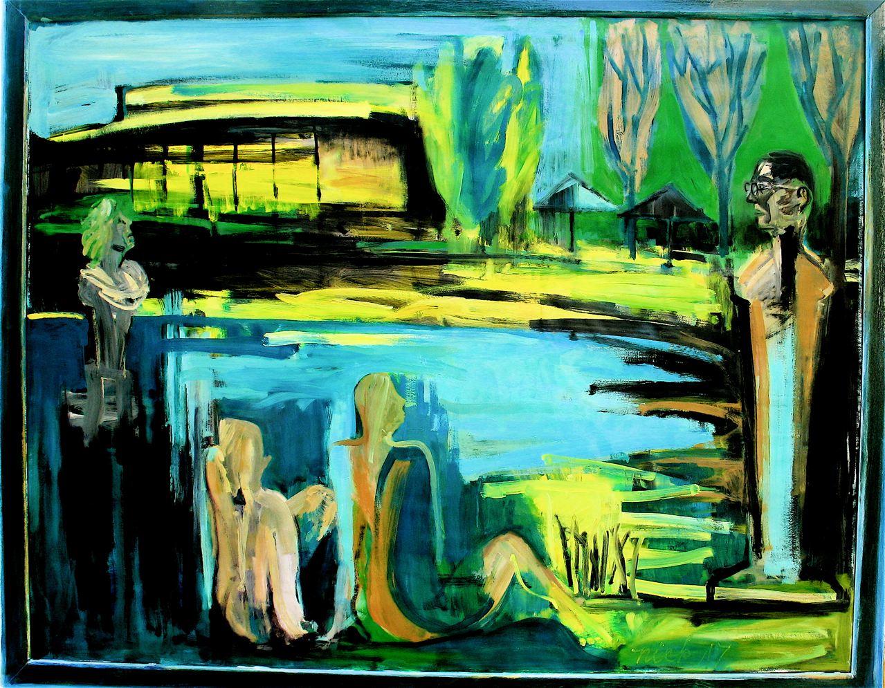 """Lisbon love-in (2017)  olio su carta incorniciato dall'artista cm 134,5 x 169  oil on paper in artist's frame 53 x 66 1/2"""""""