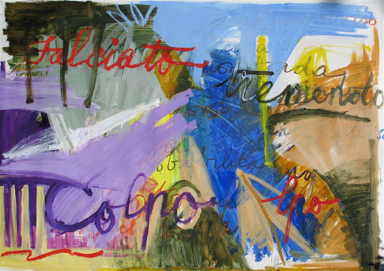 """Done down in Dese (2011) olio su carta preparata cm 95 x 135 oil on primed paper 37 3/8 x 53 1/8"""""""