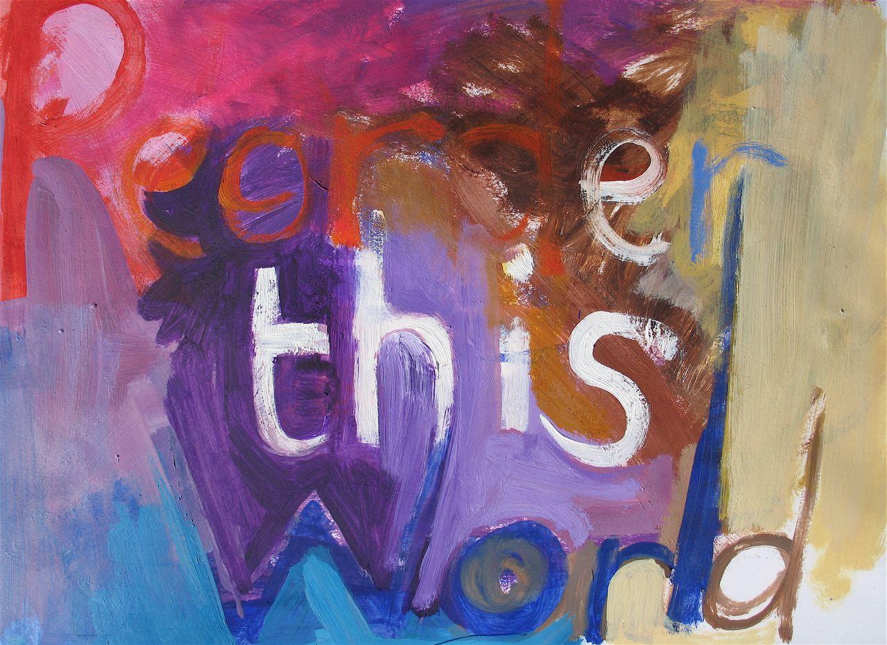 "Let us reorder this world around us (2011) olio su carta cm 33 x 48 oil on paper 13 x 18 7/8"""