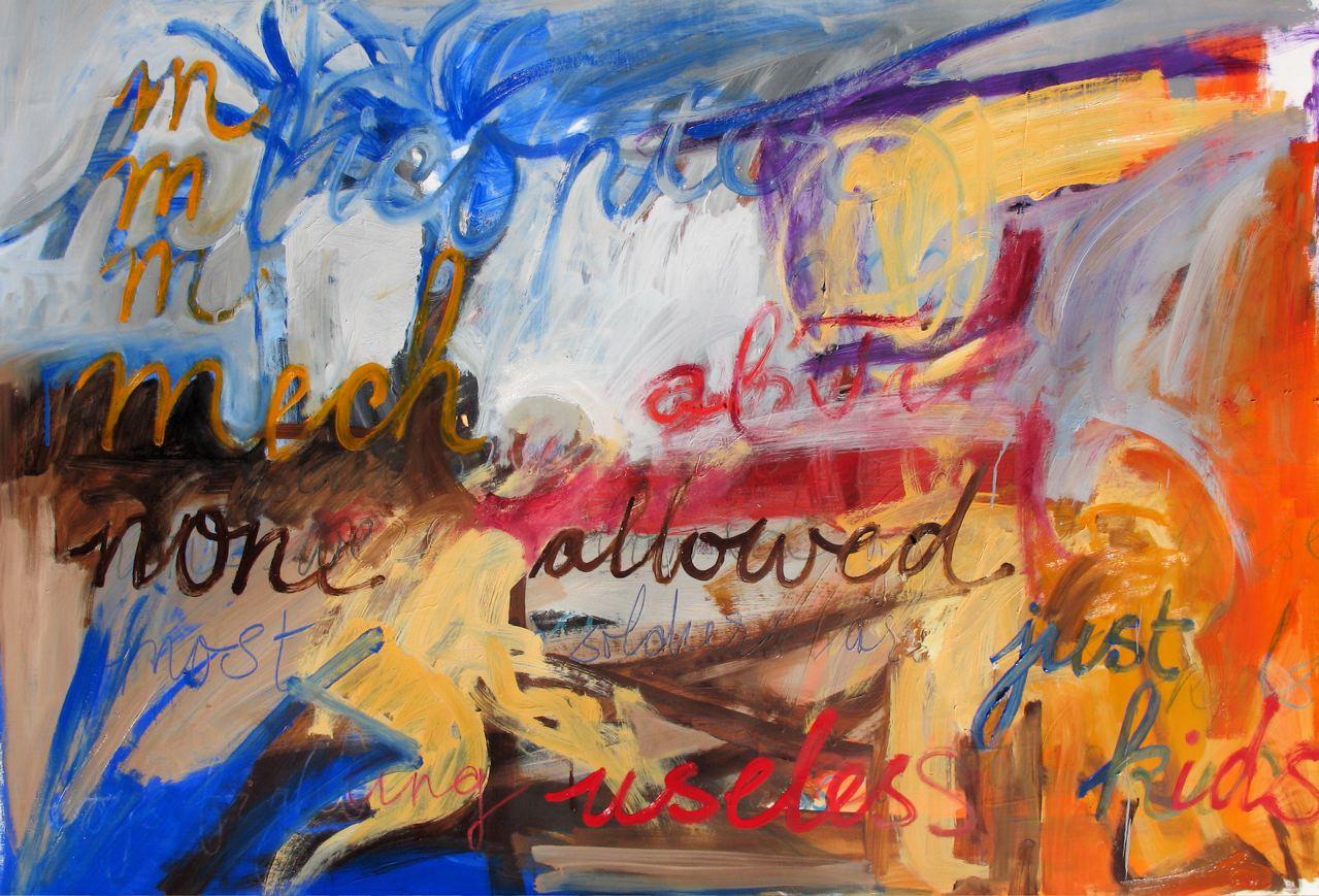 "Just kids (2011) olio su carta preparata cm 95 x 135 oil on primed paper 37 3/8 x 53 1/8"""