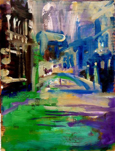 """Mentre il Morucchio… (2020)  Olio su tavola cm 40 x 30  Oil on panel 15 3/4 x 11 7/8"""""""