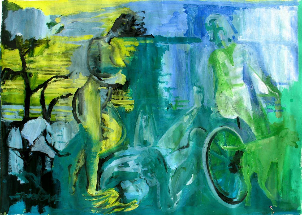 """Jack and Jill flirt with Dick (2014)  olio e smalto su carta preparata cm 96 x 135  oil & household gloss on primed paper 37 7/8 x 53 1/8"""""""