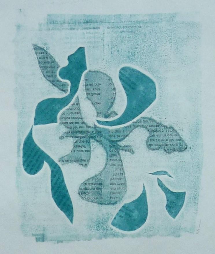 Nim, Monotipia, técnica mista 25 x 25 cm