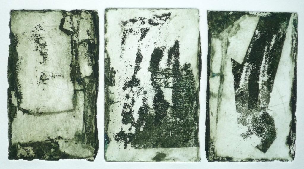 Nim, Tríptico, técnica mista, 21 x 10 cm