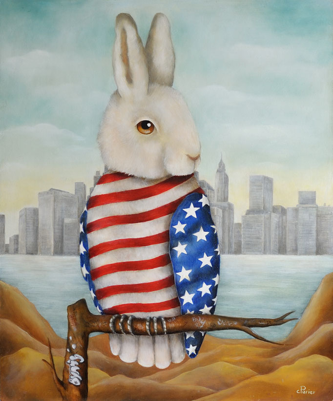 "American Bunny, 2018, oil on panel, 18 x 15 inches    <span style=""color: #ff0000;""> <span style=""color: #ff0000;"">Sold</span>"