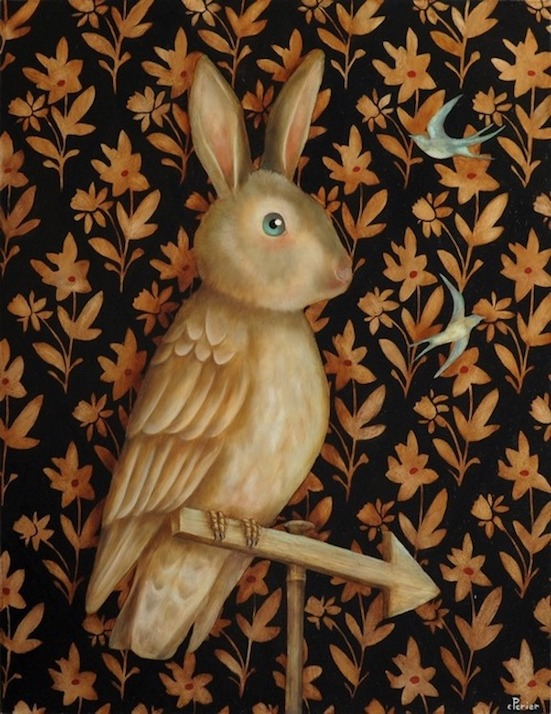 "Lapin Perché, 2015, oil on panel, 24 x 19,6 inches      <a href=""mailto:corineperier@gmail.com""><FONT COLOR=""#F5DA81"">Contact</FONT></A></a>"