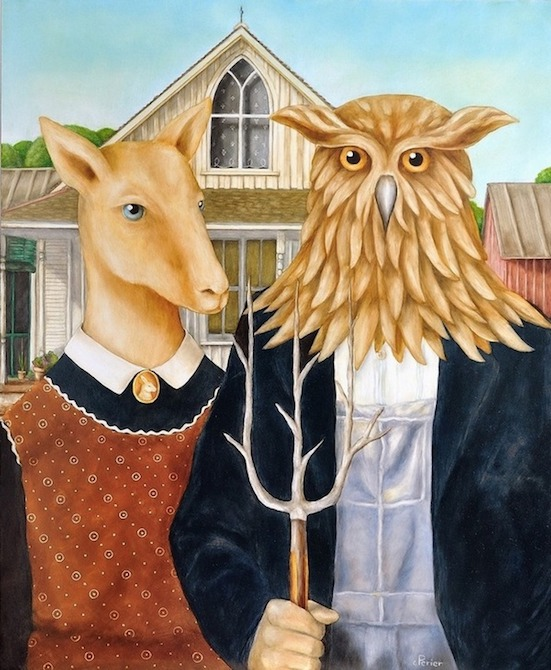 """American Gothic, 2014, oil on panel, 28,5 x 23,5 inches      <span style=""""color: #ff0000;""""> <span style=""""color: #ff0000;"""">Sold</span>"""
