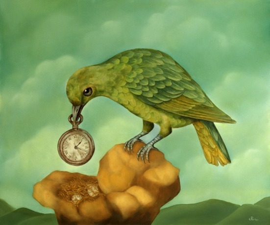 "L'Heure de l'Oiseau, 2010, oil on panel, 18,1 x 21,6 inches    <span style=""color: #ff0000;""> <span style=""color: #ff0000;"">Sold</span>"