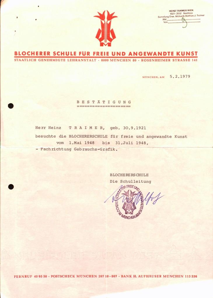 Blocherer Schule München. Bestätigung des Schulbesuchs.