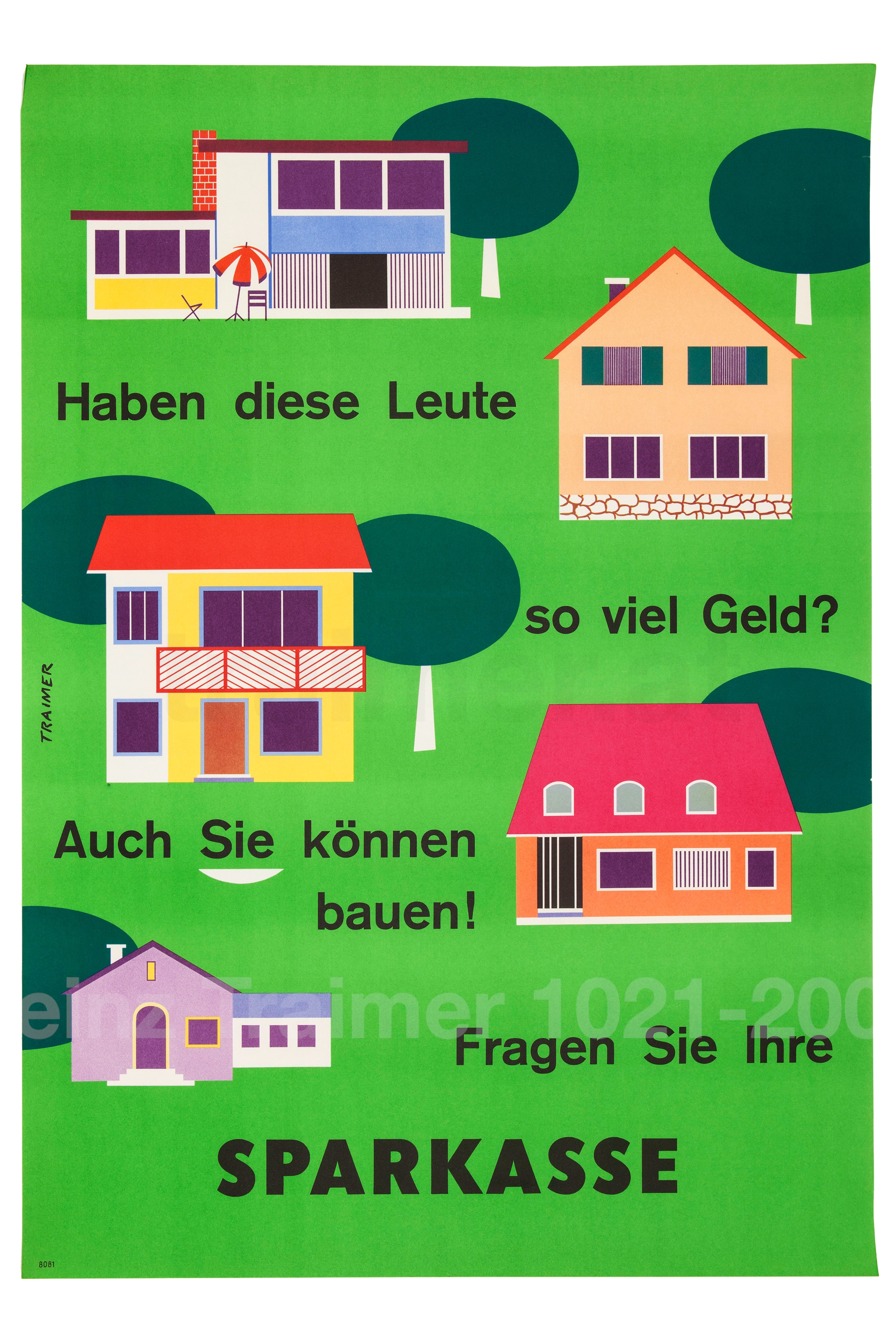Plakat Sparkassenwerbung: Immobilienfinanzierung 1961.