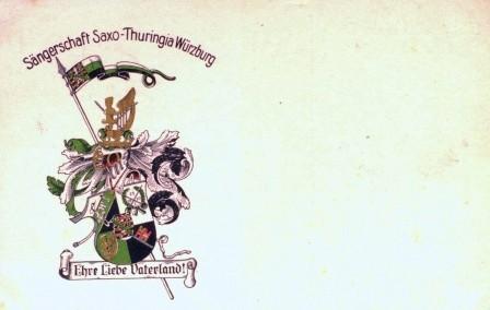 Sängerschaft Saxo-Thuringia Wuerzburg. Ehre, Liebe, Vaterland. Studentische Postkarte um 1924.