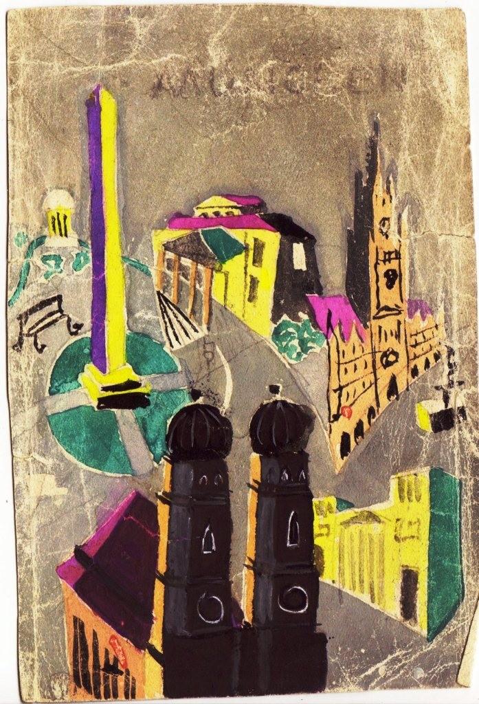München Tourismus Plakat. Entwurfs Skizze um 1952.