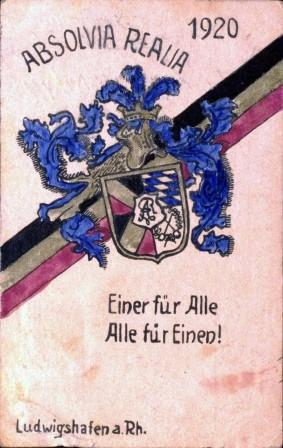 Postkarte. Absolvia Realia. Eine fuer Alle. Alle fuer Einen! Ludwigshafen am Rhein 1920. (german student postcard 1920s)