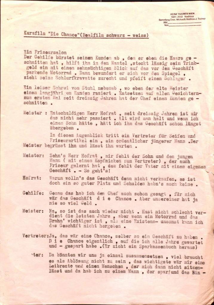 Sparkassen Werbefilm Script von Heinz Traimer (1960er Jahre).