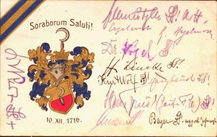 Soraborum Saluti! 10.12.1716. Postkarte.