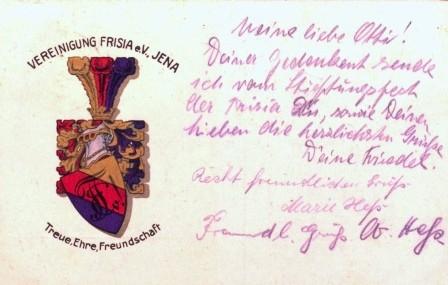 Postkarte. Vereinigung Frisia e.V. Jena. Treue, Ehre, Freundschaft. Postkarte um 1923.