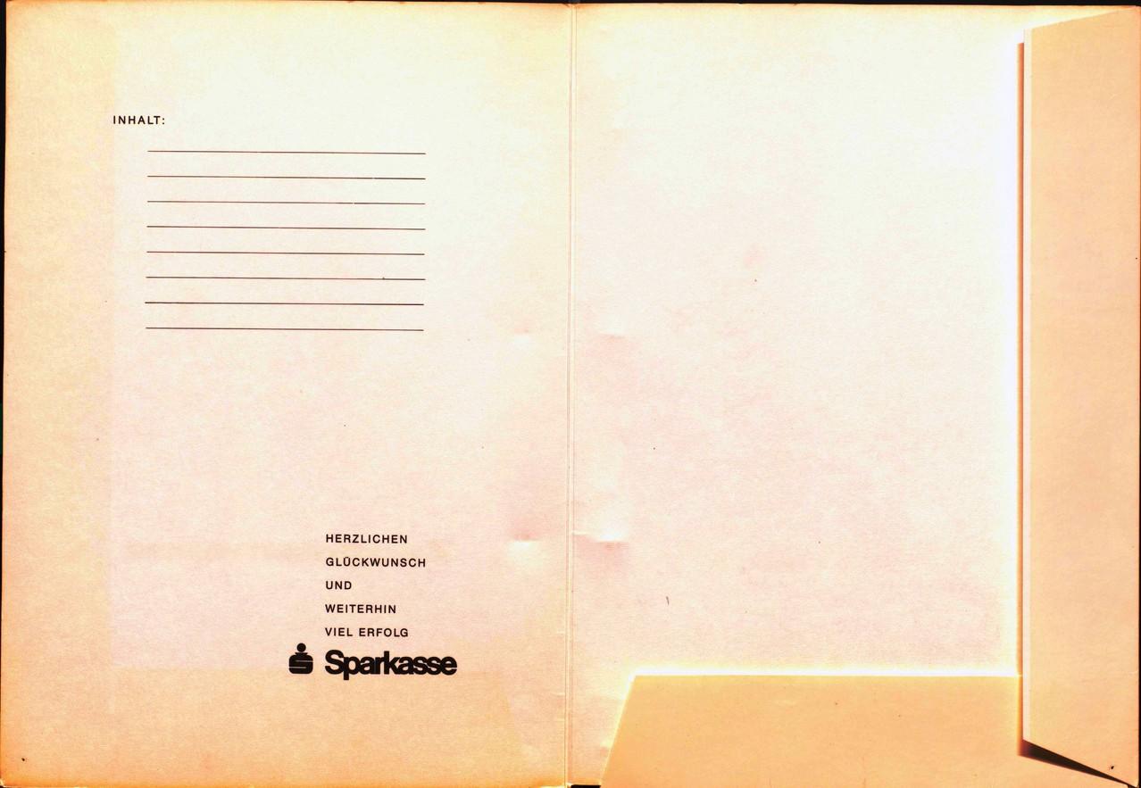 Zeugnismappe der Sparkasse um 1965