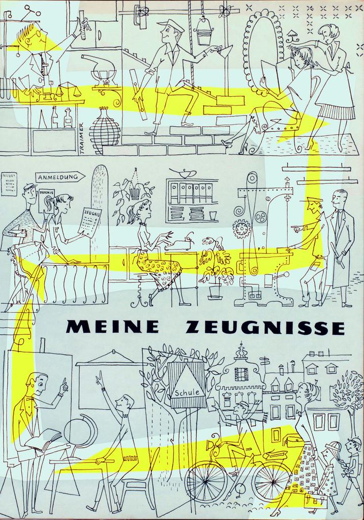 1959 (um) Zeugnismappe  der Zentralsparkasse. Grafik Heinz Traimer
